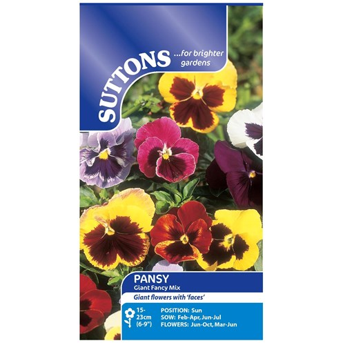 Suttons  Pansy Giant Fancy Mix Flower Seeds