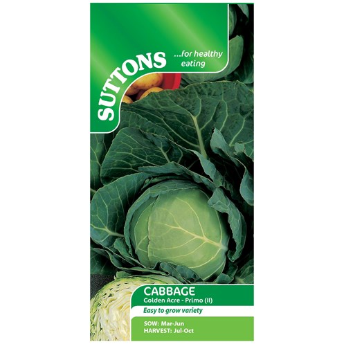 Suttons  Cabbage Golden Acre Primo Vegetable Seeds