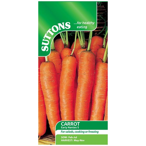Suttons  Carrot Early Nantes 5 Vegetable Seeds