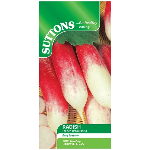 Suttons  Radish French Breakfast 3 Vegetable Seeds