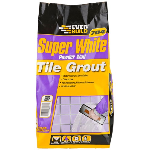 Everbuild  704 Super White Powder Wall Tile Grout - 3Kg