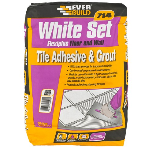 Everbuild  714 White Set Flexiplus Tile Adhesive & Grout - 20kg
