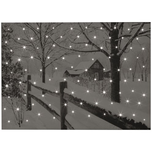 Snowtime  Lit Canvas 70 x 50cm - Country House Snowy Scene