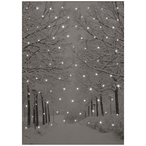 Snowtime  Canvas Picture Tree Lined Snowy Avenue - 50 x 70cm