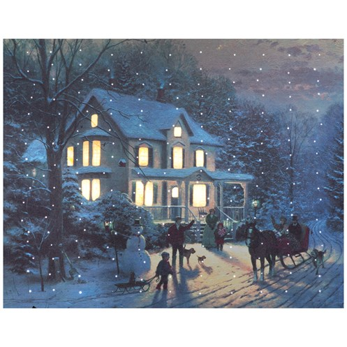 Snowtime  Lit Canvas 40 x 50cm - Thomas Kinkade's Home for Christmas